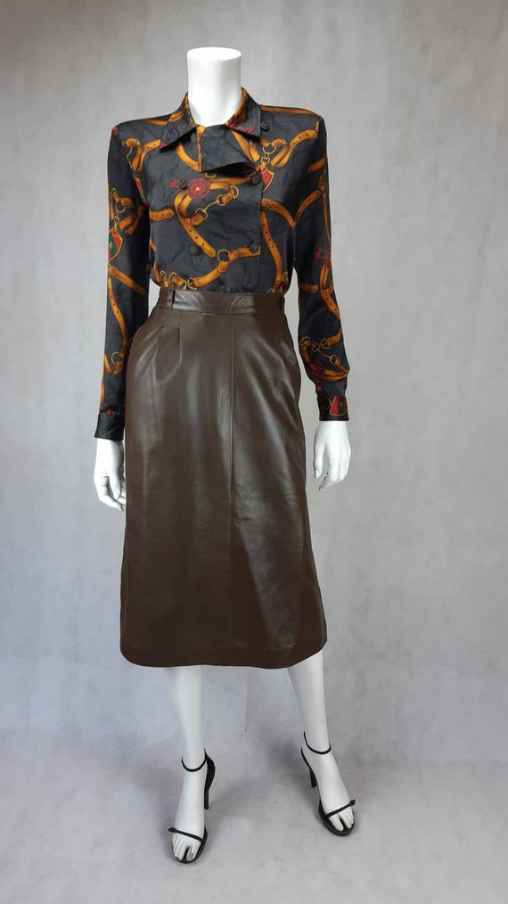 1970's Gucci soft lamb leather skirt - image 3