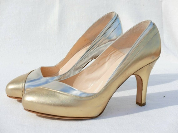 Beatrix Ong gold silver heels