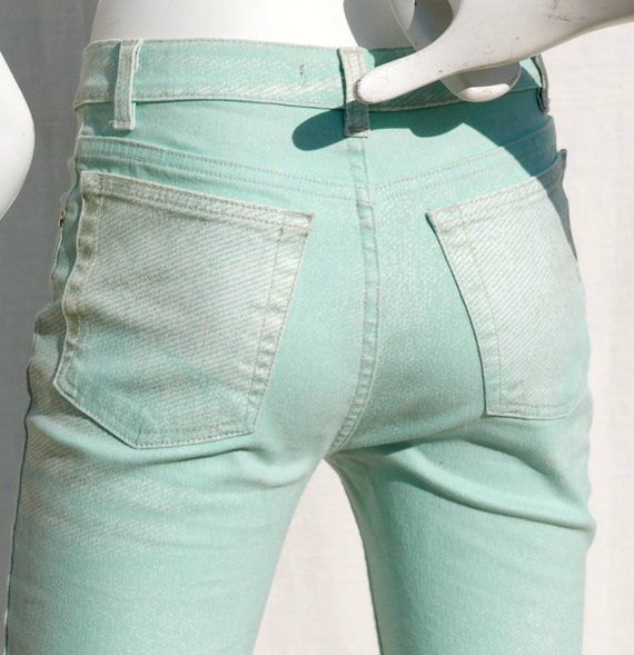 Roberto Cavalli mint green jeans with gold orname… - image 3
