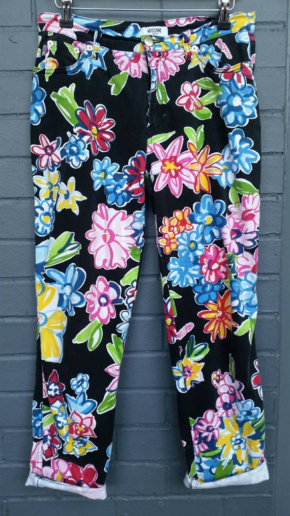 1990s Moschino Flower Power Jeans