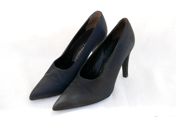90s Maud Frizon black satin heels