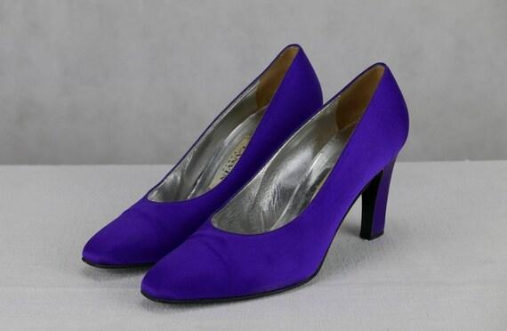 1980s Lanvin purple satin pumps