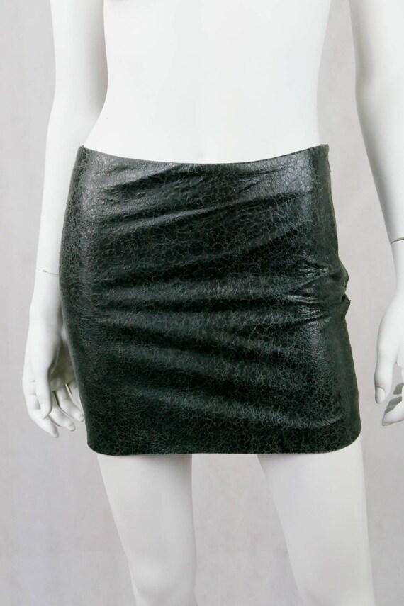 1990's Versus Versace cracked leather skirt