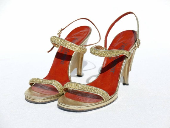 1970s Yves Saint Laurent gold platforms