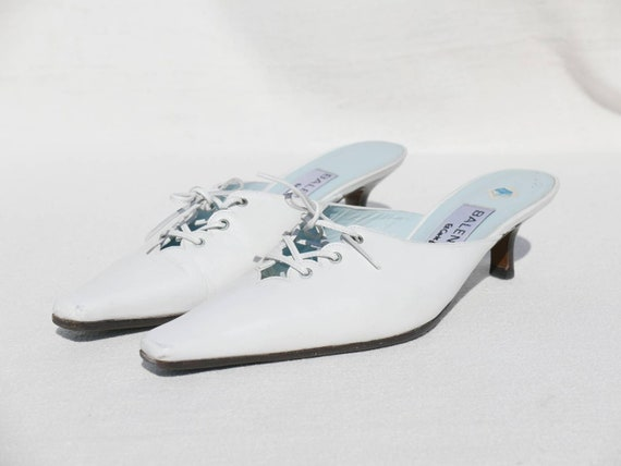 1980s White Balenciaga mules