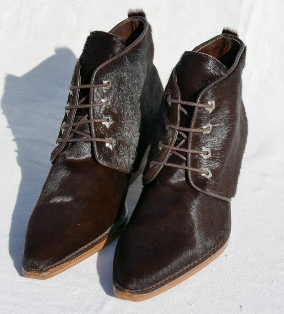 1990's Destroy Cow hair ankle boots - image 3