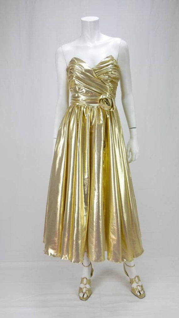 1980s Gold lame prom dress