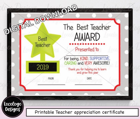 image about Printable Teacher Appreciation identified as Printable Trainer Appreciation Certification, Instructor Thankyou Reward, Individualized Instructor Certification, Least difficult Trainer award, Instantaneous Down load