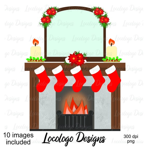 Christmas Fireplace Scene Clipart.Christmas Scene Clipart Christmas Home Traditional Christmas Clipart Digital Graphics Digital Scrapbooking Christmas Stickers Journal