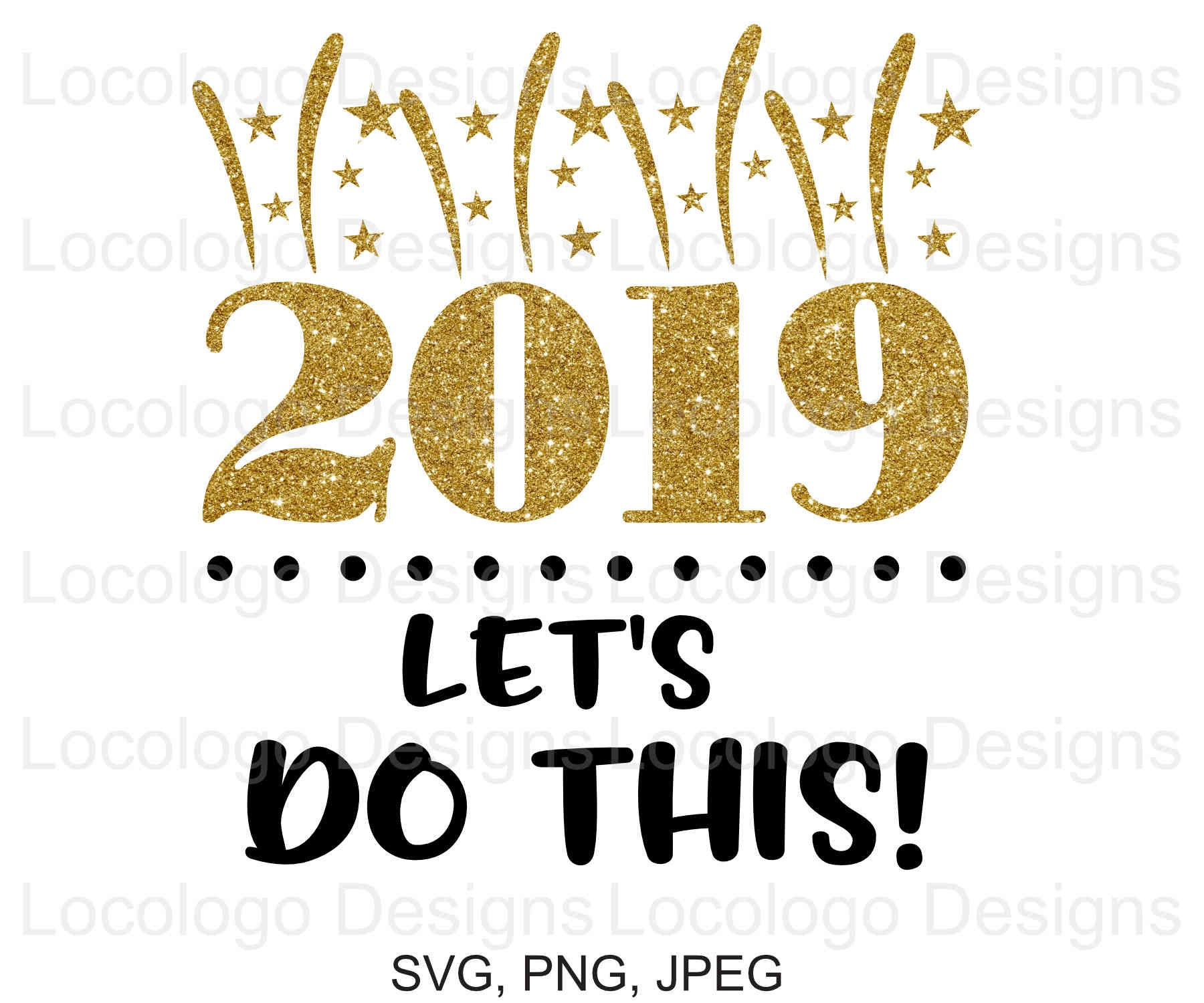 Happy New Year 2019 SVG File New Year Cutting File Clipart