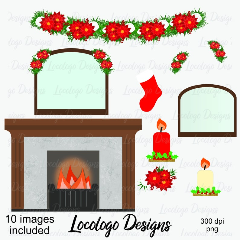 Christmas Fireplace Scene Clipart.Diy Christmas Clipart Set Christmas Scene Clipart