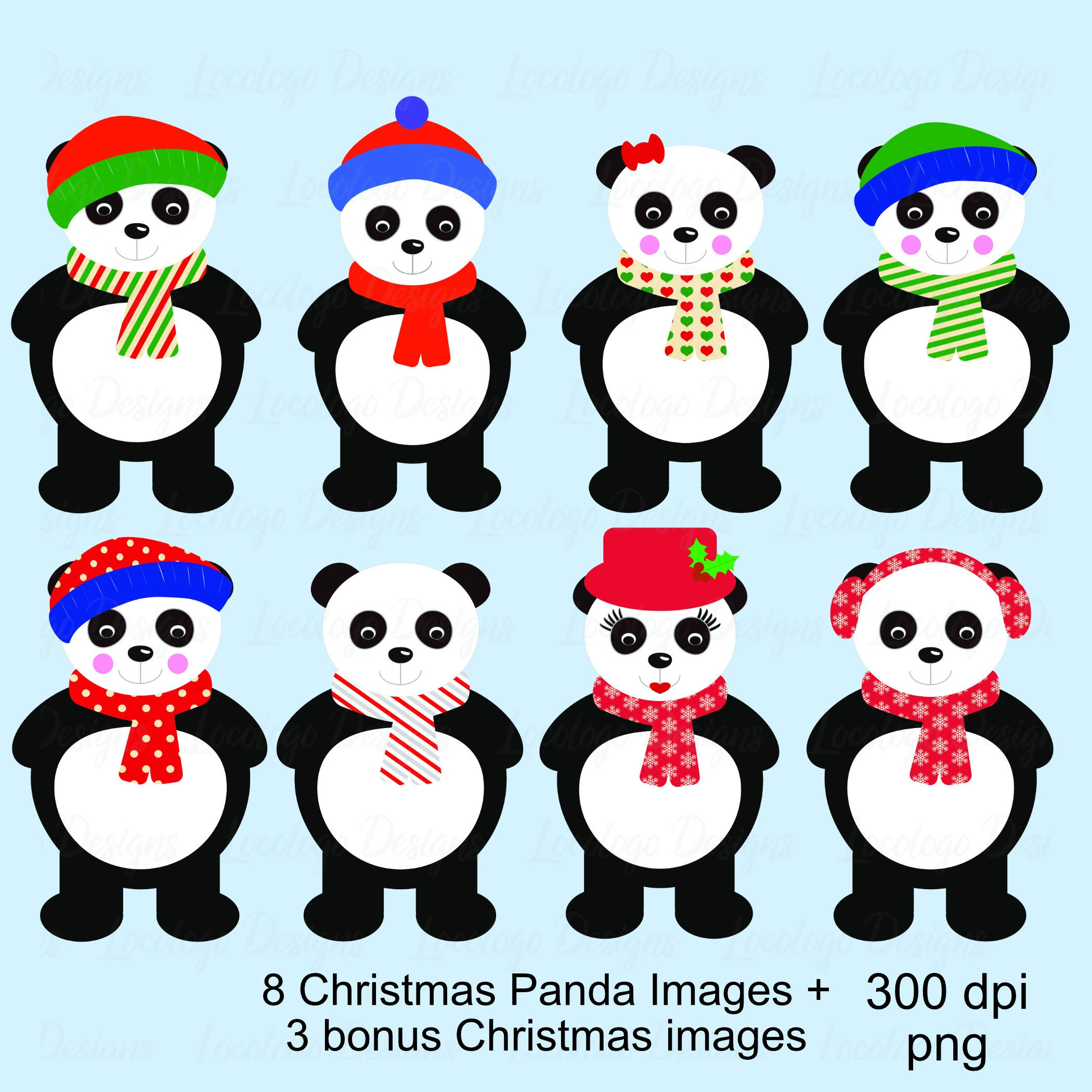 Weihnachtscliparts Panda Clipart Familie. | Etsy