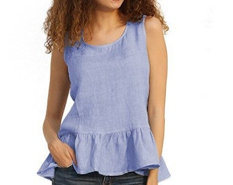 Top of linen in light blue-summer blouse with volant-blue ladies Top