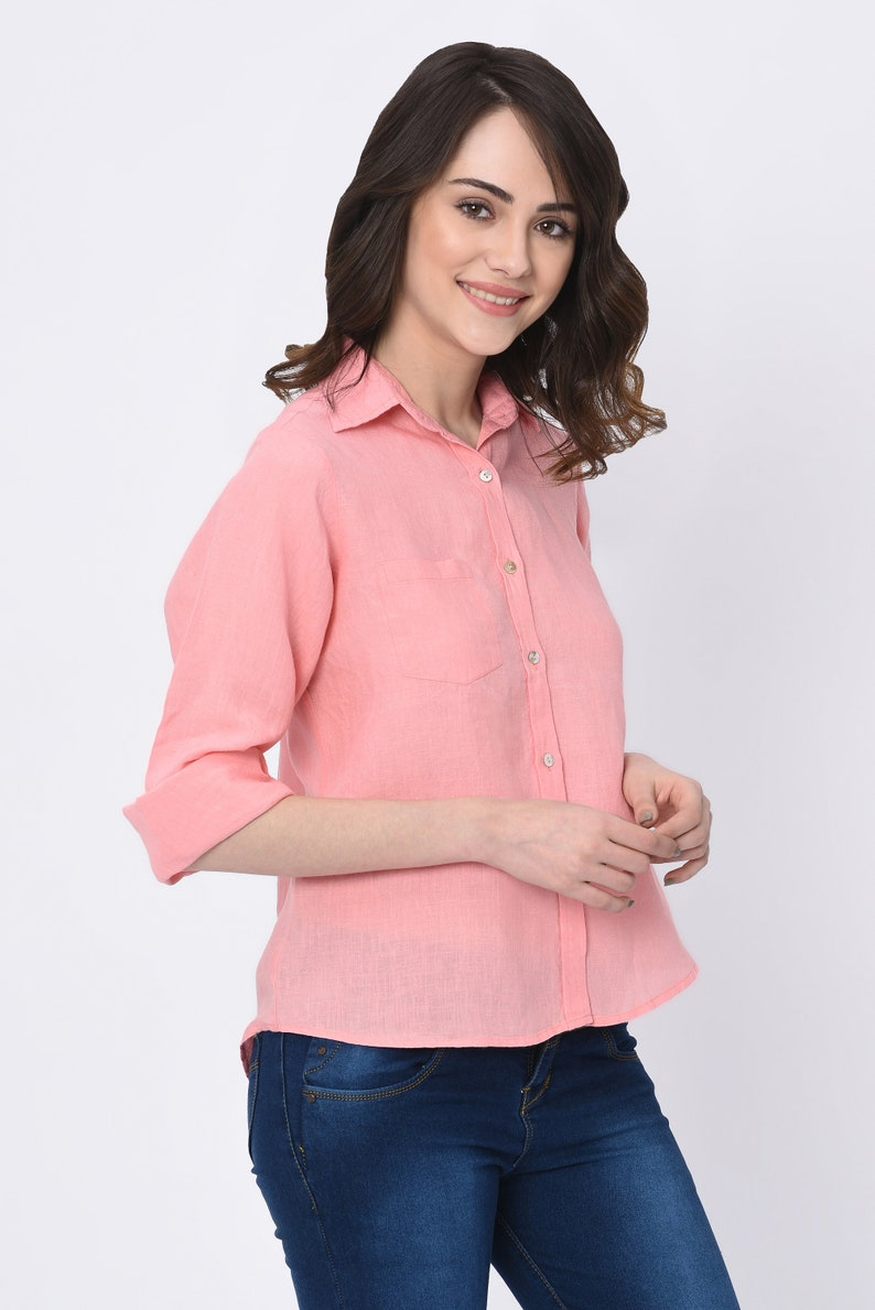 Linen Shirt Blouse in Pink Summer Blouse in Peach Rose Color
