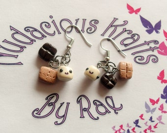 Polymer clay S'mores fish hook earrings