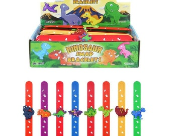 Dinosaur Slap Bands Kids Birthday Christmas Party Bag Fillers Snap Band Fun Time