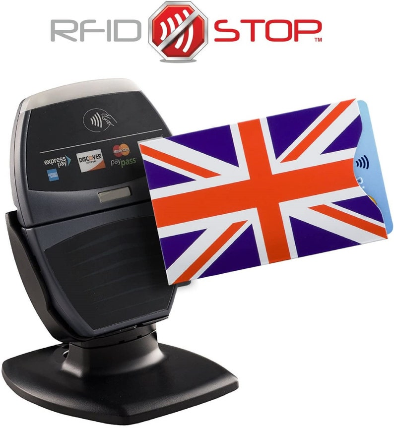Debit Anti Theft Blocking Sleeve Shield Protector Wallet for Bank Credit UK United Kingdom Flag RFID Card Holder ID Safety Holder