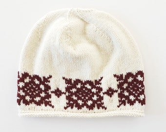 9431842d0937c Youth Wool Hat in white + brick red  Wild Rose