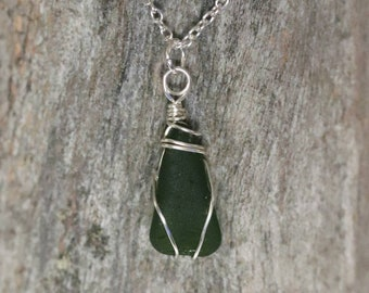 Olive beachglass pendant
