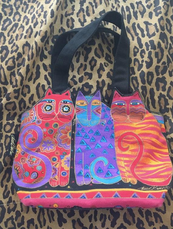 Vintage cat purse handbag Laurel Burch cat lady gi