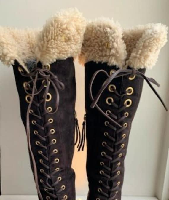 MIU MIU BOOTS wedge knee long brown suede lace boo