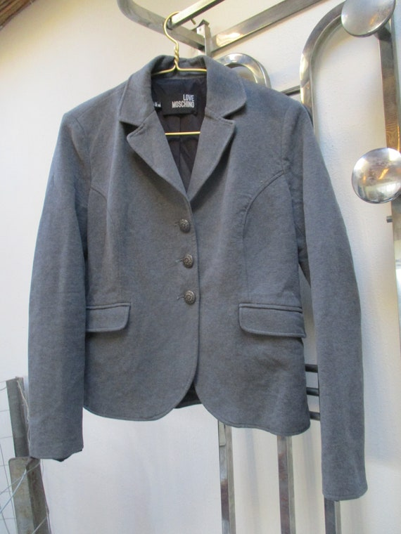 MOSCHINO JACKET GREY padded Moschino blazer jacket