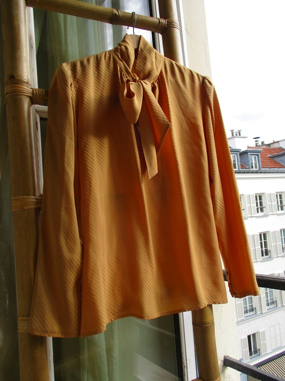 BOW TIE SILK shirt blouse 1990s original  100% pur