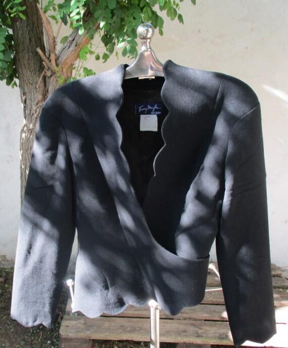 THIERRY MUGLER JACKET black jacket short asymetric