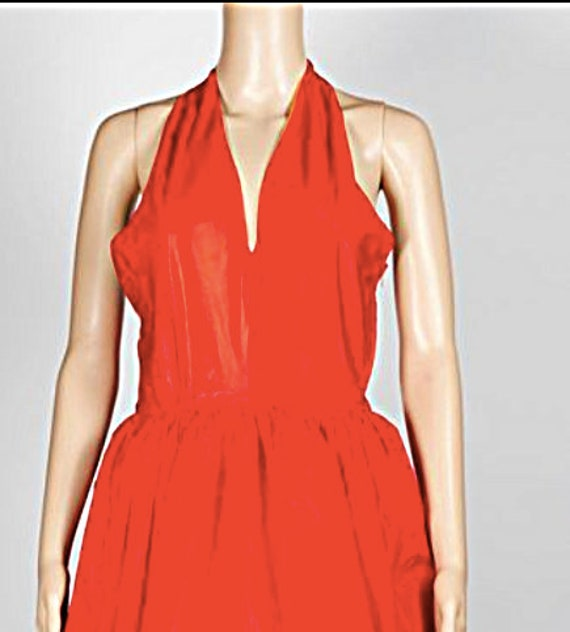 BILL BLASS DRESS red balloon halterneck dress