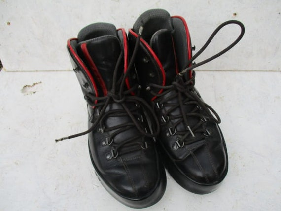 PRADA BOOTS red logo black chunky winter ankle boo