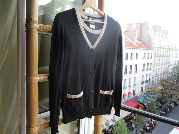 CHANEL TWINSET black beige cardigan and blouse cla