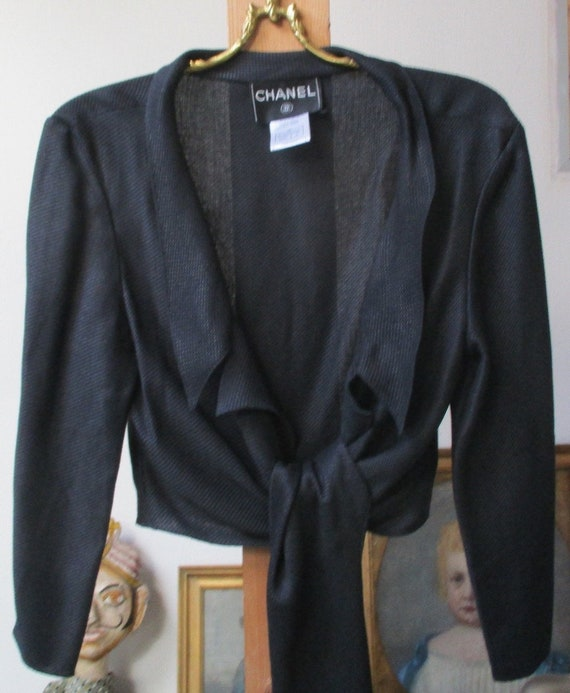 CHANEL JACKET wrap shirt black wrap jacket shirt,