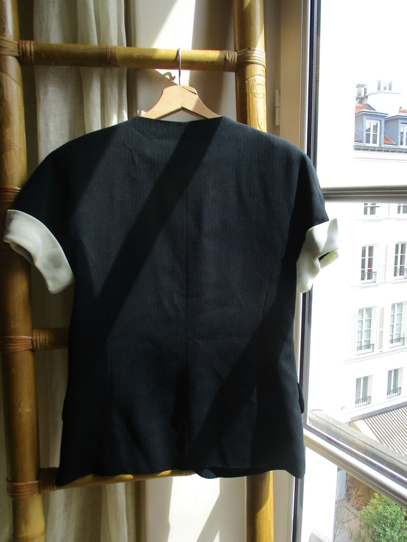 GERARD DAREL JACKET French designer vintage jacket black with white sleeves and golden buttons