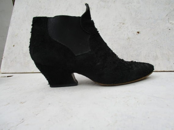 ACNE BOOTS ALMA  black distressed suede boots ankl