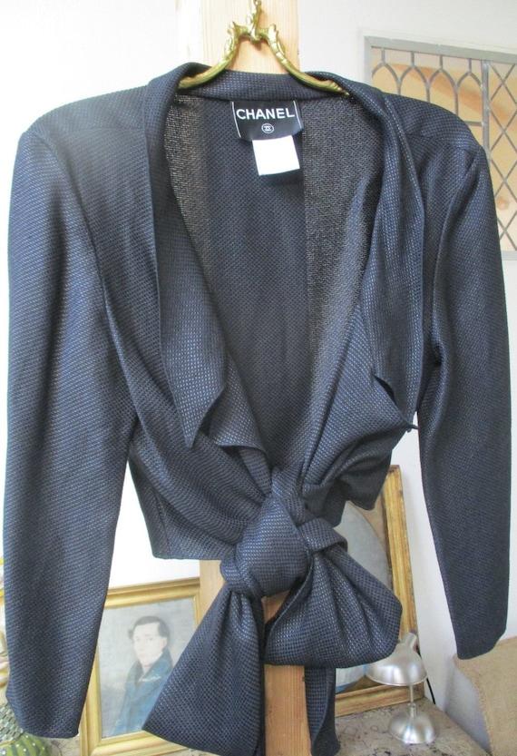 Chanel black wrap jacket shirt