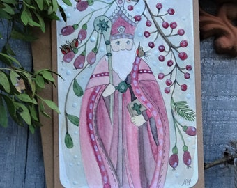 Watercolor card Saint Nicolas