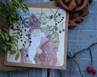 Watercolor card Saint Nicholas