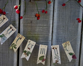 Decorative garland painted in watercolor