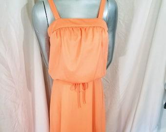 84dc31e5d REDUCED 1970s Maxidress    Peach Orange Small Medium