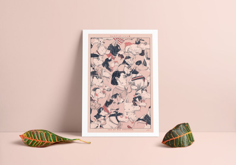 Isle of Wes Anderson  Japanese woodblock styled print image 0