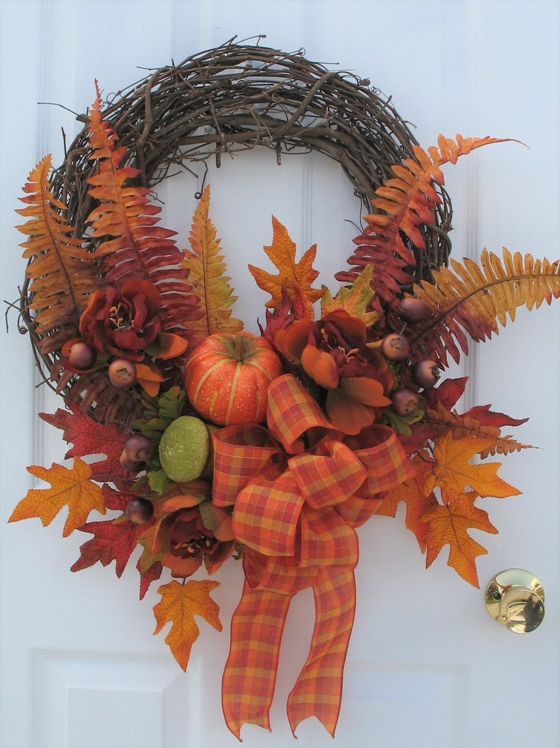 Fall Wreaths For Front Door Fall Floral Wreath Leaves Etsy