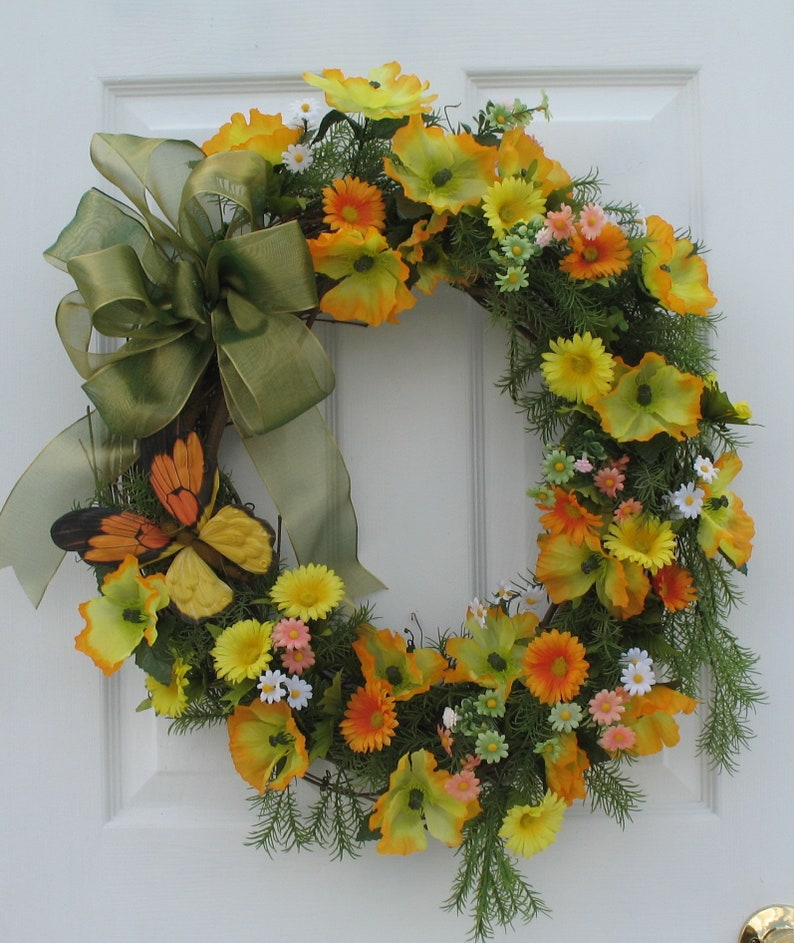 Spring Wreaths For Front Door Floral Wreaths Front Door Etsy