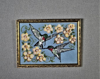 Finished Needlepoint with Frame Hummingbirds and Flowers