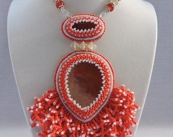Beaded coral pendant with agate Long necklace with stone for woman