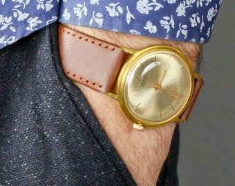 Poljot Deluxe Vintage Men Wrist Watch/ Vintage Soviet Wrist Watch Poljot/ Vintage Men Wrist Watch/ Russian Antique Unisex White USSR Watches