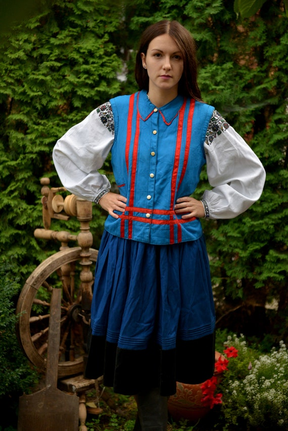 Blue/red Ukrainian Vintage Korset Antique Ukrainia