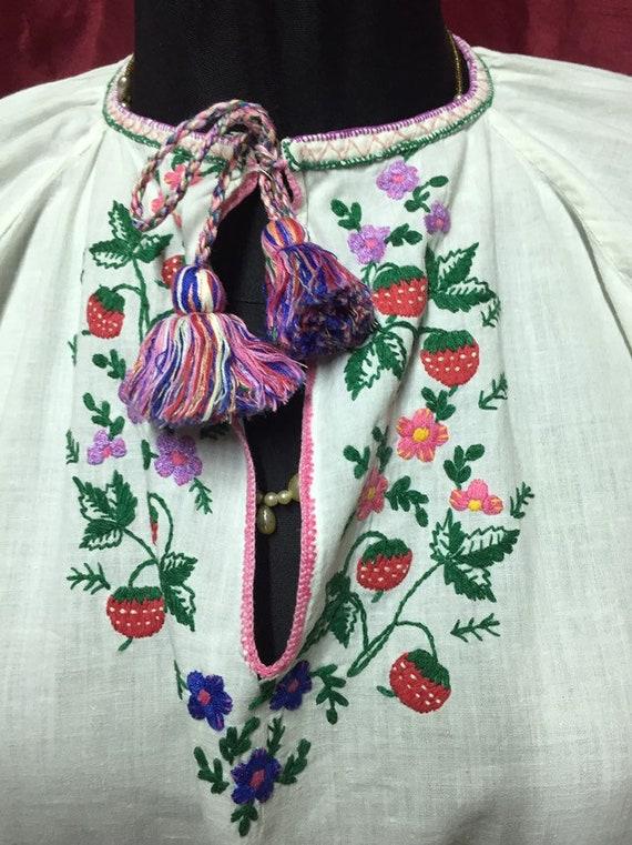 White/red Vintage Ukrainian embroidery, Ukrainian