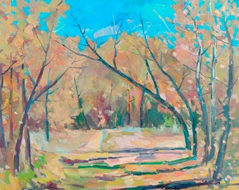Oil painting Autumn alley Peter Tovpev original picture painter signed art work & collectibles kitchen decor