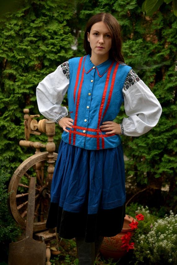 Blue/red Ukrainian Vintage Korset Antique Ukraini… - image 2