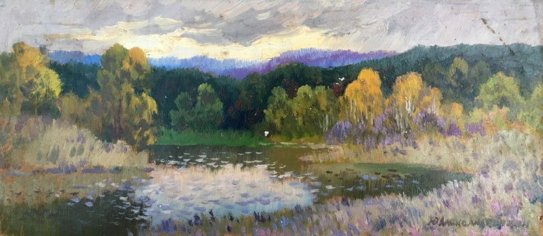 Oil painting Landscape Alexandrochkin Yuri Mikhailovich original picture painter signed art work /& collectibles kitchen decor
